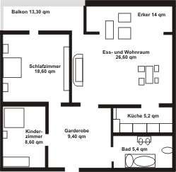 Bayersoier Hof - Ferienwohnung 2 - Wohnungsplan